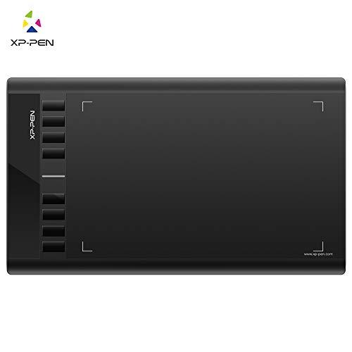 XP-Pen Star03 - Tavoletta grafica da disegno con penna stilografica e 8 tasti di scelta rapida, compatibile con Windows 7 8 10, colore: Nero