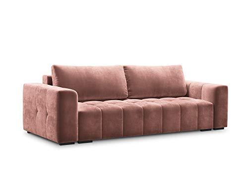 Milo Casa - Sofá de terciopelo convertible con baúl de almacenamiento, 3 plazas, rosa, 250 x 105 x 85 cm