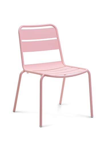 CAIRO Designer Gartenstuhl Malaga rosa - Für Garten und Balkon, Outdoor Stühle stapelbar, Stuhl modern mit Lehne aus Aluminium, BxHxT 46x81x55 cm