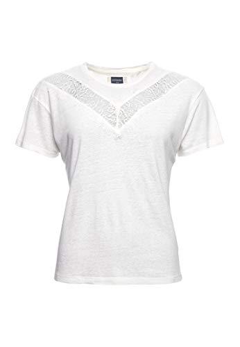 Superdry Damen Chevron T-Shirt mit Spitze Auster 44