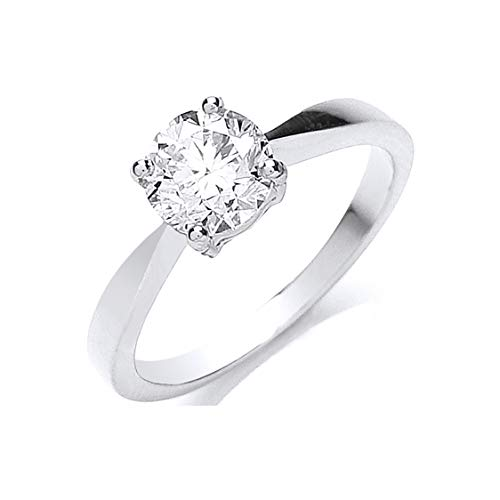 Anillo de compromiso de platino auténtico con diamante de 1,00 quilates.