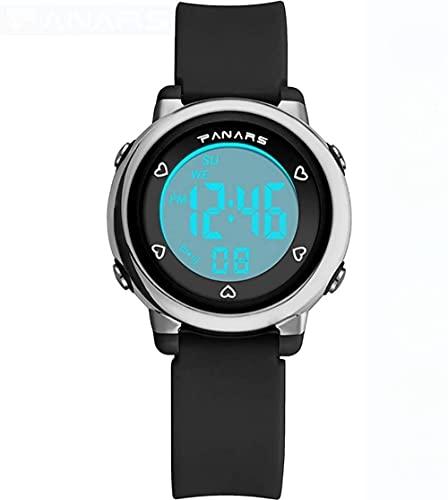 Digitale Uhren für Jungen und Mädchen Kinder wasserdichte Sportuhr mit Alarm/Datum/Chronograph/LED Displays Kinder im Freien Sport Armbanduhren für kleine Teenager-Schwarz Excellent