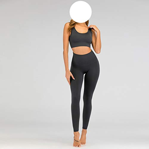 XYZMDJ Frauen Seamless Yoga Set Sport-BH und Strümpfe Fitness Pants Gym Jogginganzug Übung Sportkleidung (Color : Black, Size : L Code)
