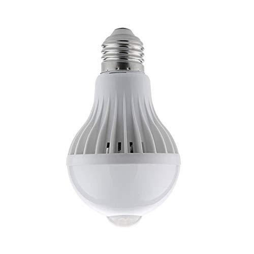 Tree-es-Life E27 LED Sensor de luz infrarroja Lámpara de inducción Humana para Interiores y Exteriores Bombilla de luz LED Lámpara de gabinete de Pared de 360 Grados Ahorro de energía Blanco 9W