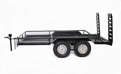 Vanguard 1:10 Scale Dual Axle Flatbed Trailer Kit with Lights for RC Rock Crawler Truck Buggy Cars : Axial SCX10 TRX-4 D90 RC4WD (Dual Axle)