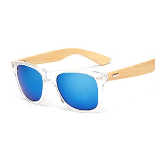 FDNFG Gafas de Sol Moda Square Gafas de Sol Hombres Madera Bambú Gafas de Sol para Mujeres Gradiente Espejo Vintage Retro Sexy Leopard Rivet Oculos de Sol Gafas de Sol (Lenses Color : Trans Blue)