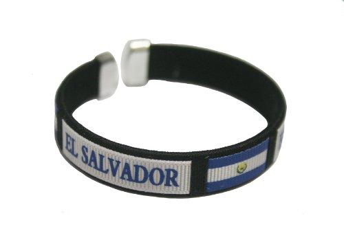El Salvador Black Country Flag C' Bracelet Wristband. New