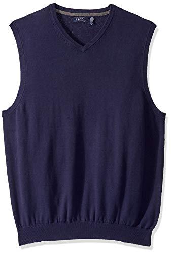 IZOD Men's Big & Tall Big Premium Essentials Solid V-Neck 12 Gauge Sweater Vest, Peacoat, 3X-Large Tall