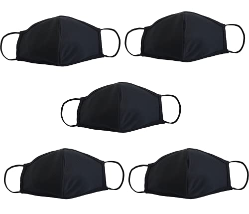 VTER Premium Cloth Face Mask - Reusable Washable Mask - Protection From Smoke, Dirt, Pollen, Dust For Running, Cycling, Camping, Traveling Outdoor Activities - 5PCS Cloth Mask (Black, XL)