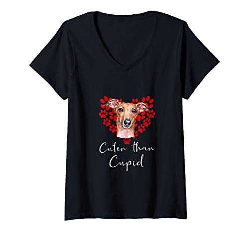 Mujer GALGO Cuter Than Cupip Perro Día San Valentín Camiseta Cuello V