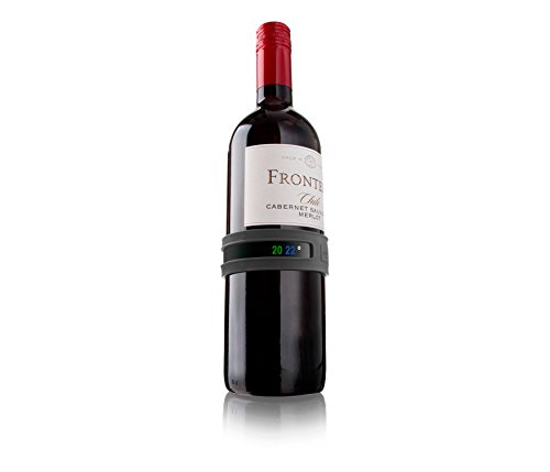 Vacu Vin Termómetro adaptable para botellas de vino, Acero Inoxidable, Gris oscuro