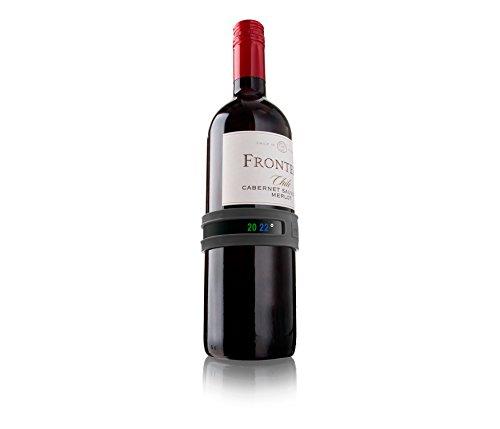 Vacu Vin - Termometro per vino (da attaccare alla bottiglia di vino per misurare la temperatura), Colore Grigio Scuro