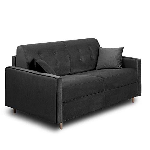 INSIDE Canapé Convertible Express Minneapolis Matelas 140cm Comfort BULTEX® 14cm sommier Lattes RENATONISI Velours Gris foncé