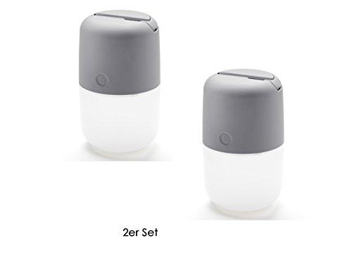 2er Set Solar LED Leuchte ASSISI mit 3-Stufen Dimmer & USB-Kabel, IP44, Grau