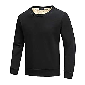 FASKUNOIE Men's Sweatshirts Warm Sherpa Lined Fleece Long Underwear Tops Winter Crewneck Pullover shirts