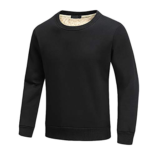 FASKUNOIE Men's Sweatshirts Warm Sherpa Lined Fleece Long Underwear Tops Winter Crewneck T Shirts Black
