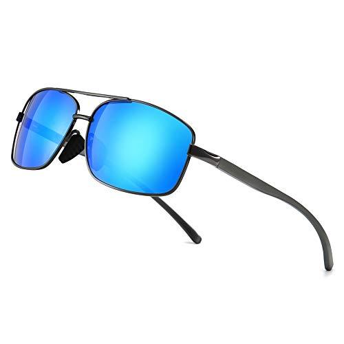SUNGAIT Gafas de sol Hombre Polarizadas Clásico Retro Gafas de sol para Hombre metal Marco Gunmetal/Azul 2458