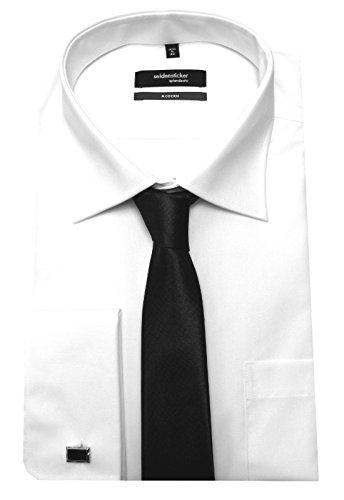Seidensticker Manschettenhemd weiß mit Krawatte u. Man.knöpfe XXL 46