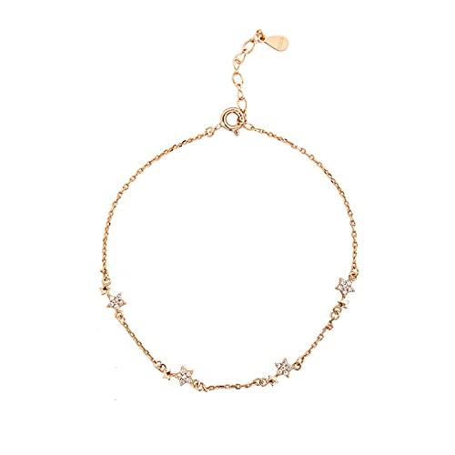 WLLLTY Pulsera Mujer, Pulsera con Encanto de Estrella de Cristal de Plata de Ley 925 para Mujer, joyería Elegante para Boda