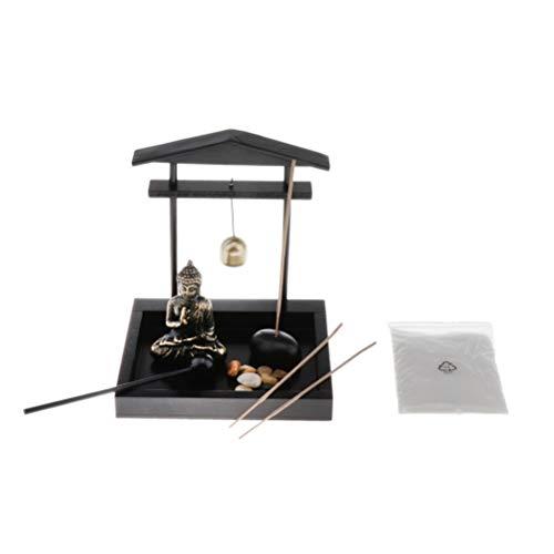 Aiglen Estatua de incienso de escritorio para decoración de jardín, con soporte de incienso para meditación budista y meditación, Buda para el jardín