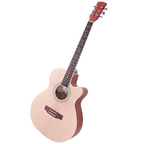 Asdomo Glarry GT501 40 inch Spruce Front Cutaway Folk Guitar with Bag & Board & Wrench Tool Burlywood