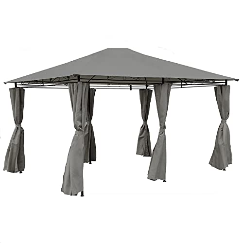 Charles Bentley 3m x 4m Steel Art Large Gazebo With Side Curtains Grey Powdered Coated Steel