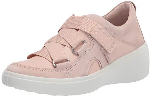 ECCO Zapatilla de deporte suave con correa de cuña 7 para mujer, Polvo de rosa/Rosa polvo Nubuck, 37/37.5 EU