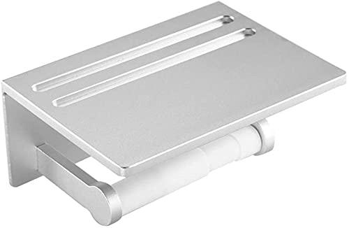 Portarrollos de papel higiénico de aleación de aluminio con estante de almacenamiento, hebilla de resorte de perforación montada en la pared Dispensador de papel de baño antideslizante, teléfono Mare