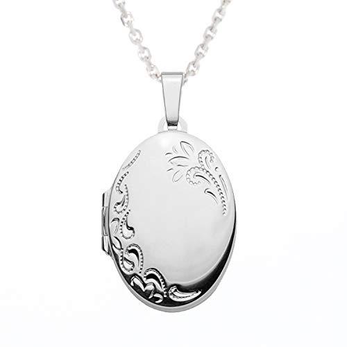 SELVA Damen Halskette mit Medaillon zum Öffnen (aufklappbar), oval, Silber 925/rh, Verlängerung (8 cm), BxHxT (mm) 17,2 x 23,6 x 5,8; Kettenlänge: 42-50 cm