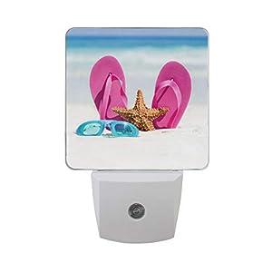 Linomo LED Night Light Lamp Flip Flops Starfish Beach Summer Auto Senor Nightlight Plug in for Kids Adults Boys Girls Bedroom Decor, 2 Pack
