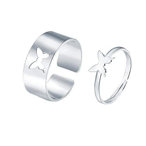 2 partes anillos de plata mariposa anillo Conjunto de joyas a juego ajustable anillo de manguito abierto para amantes de los pares (Silber)