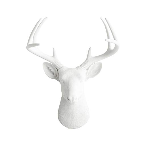 Wall Charmers Large White Faux Deer Head - 21 inch Faux Taxidermy Animal Head Wall Decor - Handmade Farmhouse Decor - Rustic Wall Decor Deer Antlers