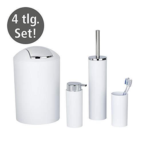 WENKO Badezimmer-Toiletten-Set Calvo 4-teilig mit Seifenspender Zahnputzbecher WC-Bürste und Eimer Weiß mit Chrom Details