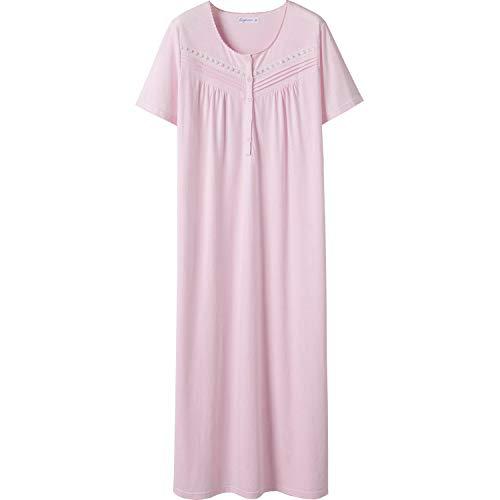 Keyocean Nachthemd für Damen, 100 % Baumwolle, weich, leicht, bequem, Nachtwäsche - hellrosa Farbe, size: Klein
