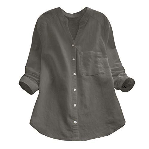 HIRIRI Women Cotton Linen Casual Loose Button Down Shirt Solid Long Sleeve Basic Blouse Henley Tops (L, Gray)