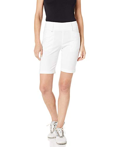 """Callaway Women's Performance Flat Front 9.5"""" Inseam Short, Solid Brilliant White, Large"""