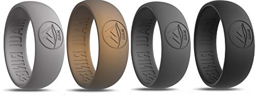 Silicone Wedding Ring by MAUI RINGS 4 PACK Ring Engagement Rings for Men Wedding Band Mens Ring Rubber Bands Mens Rings Surf Fitness Exercise Gym Crossfit Training Sport Running Yoga [ SIZE 11 ]