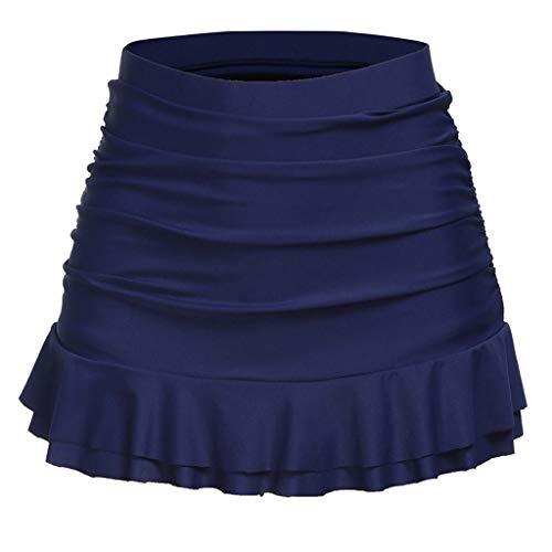 Tefamore Femmes Jupette Bikini Bottom Taille Haute froncée Bas Volants Maillots de Bain(Marine,X-Large)