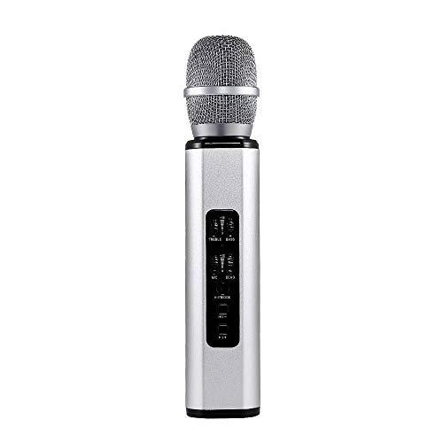 XFSE Bluetooth-Mikrofon-Multifunktions-Dual-Lautsprecher Portable Intelligent Mikrofon Private Mode (Color : Silver)