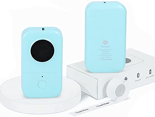 Phomemo D30 Bluetooth Etikettendrucker-Tragbarer Mini Thermo Bluetooth Etikettendrucker-Einfache Verwendung für Organisation,Haushalt und Büro(D30-Drucker mit 1 Rolle 12mm x 40mm Thermopapier).Grün