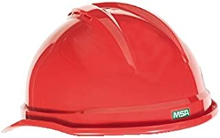 MSA (Mine Safety Appliances) 10034031 Red V-Gard Advance Class C Type I Polyethylene Vented Hard Cap with Fast-Track 6-Point Suspension and Glare Gard Underbrim