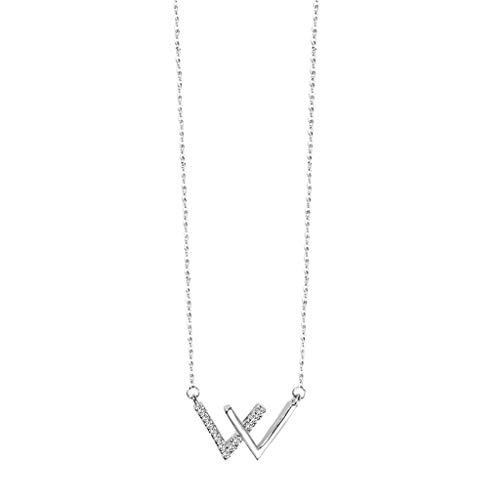 ZNZNN Collar de Letra de Plata esterlina S925W, Collar de clavícula para Mujer, Regalo de cumpleaños/Regalo del día de la Madre/Regalo del día de San Valentín Regalo de Collar de Moda