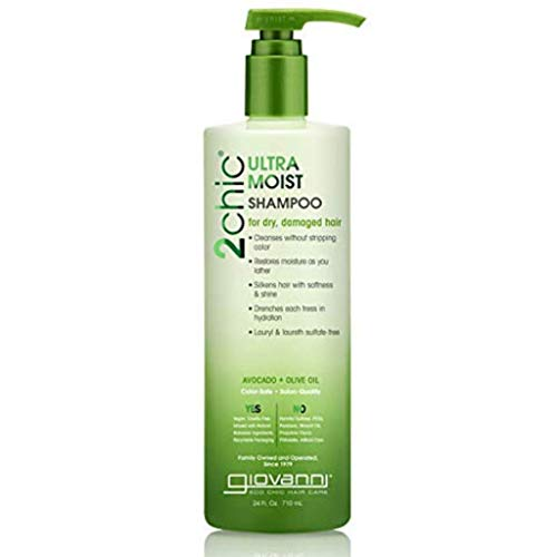 GIOVANNI 2chic Ultra-Moist Shampoo, 24 oz. Avocado & Olive Oil, Hydration Formula, Enriched with Aloe Vera, Shea Butter, Botanical Extracts & Oils, Sulfate Free, No Parabens, Color Safe (Pack of 1)