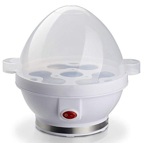 MovilCom® - Cocedor de Huevos eléctrico | Hervidor cuece Huevos eléctrico con Capacidad para 1-7 Huevos | Moderno | 350W | sin BPA | Blanco