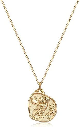 Mevecco Carved Gold Coin Pendant Necklace for Women 18K Gold Plated Dainty Minimalist Necklace product image