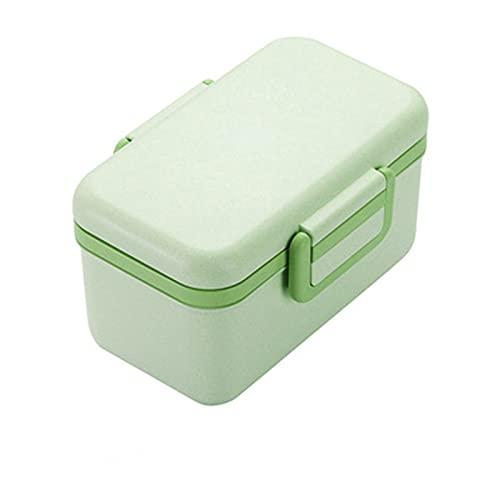GXGX Fiambrera de paja de trigo, fiambrera Bento, para niños, para almacenar alimentos, ensaladas, microondas, color verde