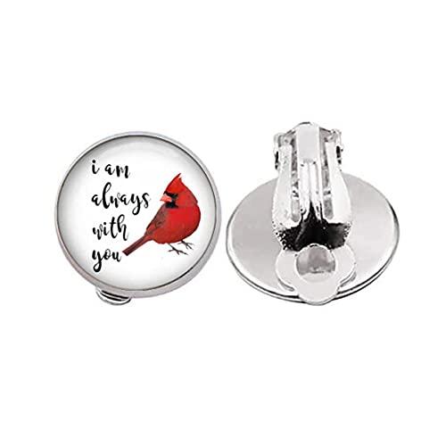Pendientes con clip de cardinal, pendientes sin perforación, diseño de cardenal rojo, clip para la oreja de resina, regalo de simpatía - I Am Always with You - encanto de joyería para niña y mujer
