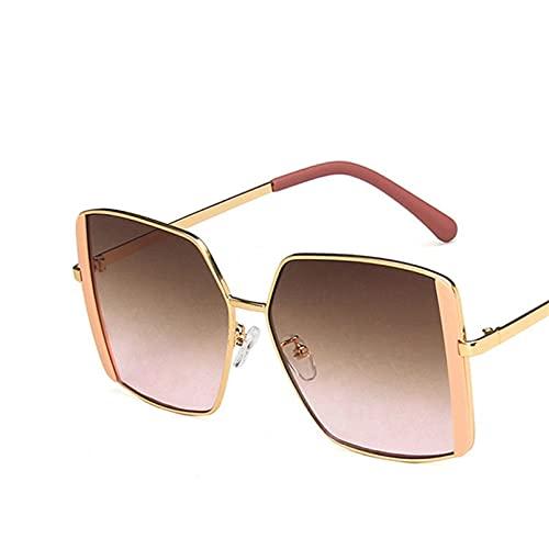 Q4S Gafas De Sol Hexagonales Retro para Mujer con Marco De Metal Cuadrado Espejo De piloto Gafas De Sol Retro Clásicas para Mujer Gafas De Verano De Lujo
