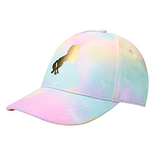 accsa Casquette de Baseball avec Motif Licorne pour Fille Tie-Dye Chapeau de Soleil Ajustable Casquette Snapback pour Enfants