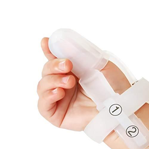 Ruspela Protector de dedo ajustable Cunas de silicona para dedos Tapa de dedo Soporte de dedo gatillo pulgar chupando dedo protector mordedor para bebé